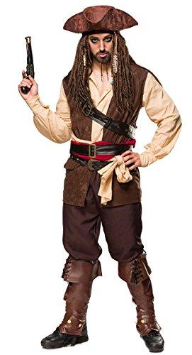 t 9-TLG. Karneval Komplett-Set Captain Jack - Jack Sparrow aus Pistole, Hut, Kopftuch, Hemd, Weste, Hose, Beinstulpen, 2 Tücher, 3 Gürtel in braun beige von MASK Paradise (XL) ()