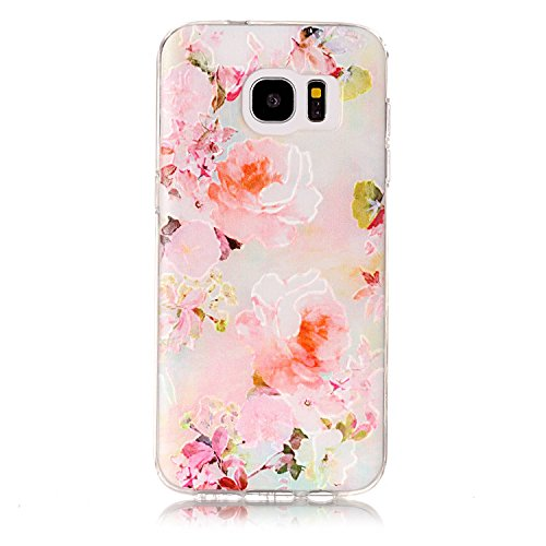 Price comparison product image For Samsung Galaxy S7 Edge Case [With Tempered Glass Screen Protector], Qimmortal(TM) Colourful Painting Pattern Soft Gel TPU Silicone Personality relief pattern Scratch Resistant Protective Cell Phone Case Cover For Samsung Galaxy S7 Edge(Peony)