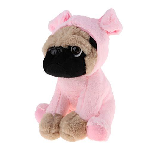 Kostüm Babys Mops - P Prettyia Süß Sitzender Mops Kuscheltier Plüschtier mit Tierfigur Kleidung Kostüm - Rosa Schwein