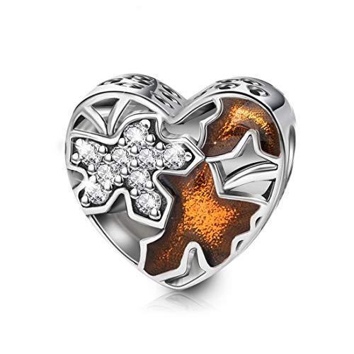 DALARAN 925 Sterling Silber Ahornblätter Perlen Herzförmiger Charme für Europäische Armbänder Halskette