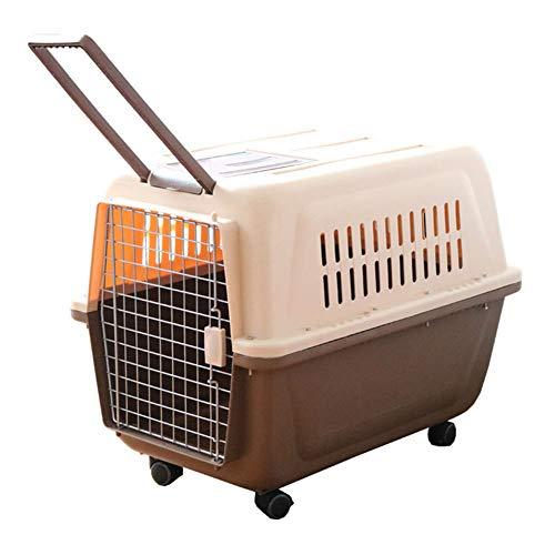 Qys Tragbare Kunststoff-Transportbox für Katzen- und Hundehaustierträger mit Rädern und Zugstange für Kurztrip-Tierarztbesuche im Freien für große Tiere, 66 x 47 x 53 cm,Brown -