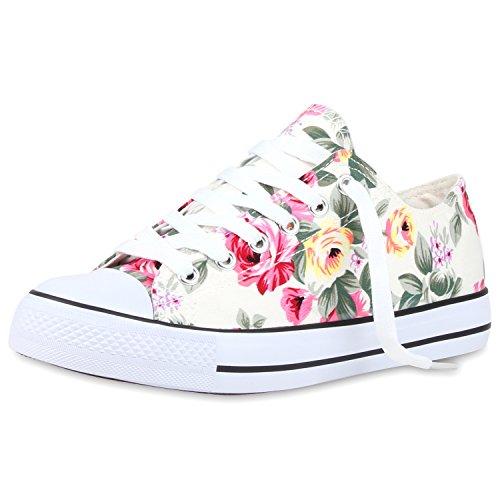 Bequeme Unisex Sneakers | Low-Cut Modell | Basic Freizeit Schuhe | Viele Farben | Gr. 36-45 Weiss Muster