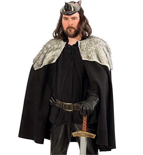 Druiden Kostüm Larp - KarnevalsTeufel Herrenkostüm-Set Mittelalter Umhang in schwarz mit Kunstfell und Spielzeug-Schwert Magier Druide Cape mit Spielzeug-Waffe