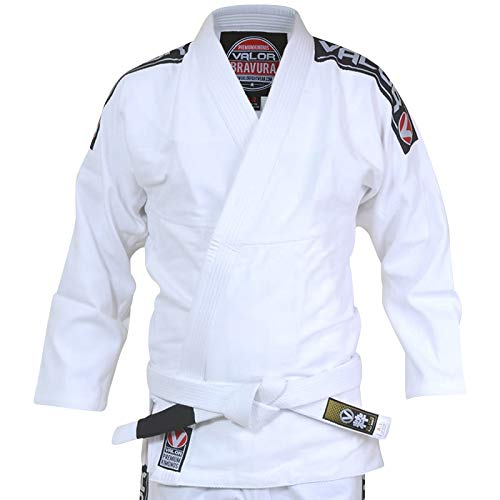 Valor Bravura BJJ GI White Kampfsportanzug mit zusätzlichem weißen Gürtel, A4 (Bjj Gi A4)