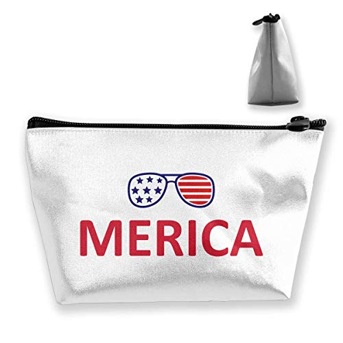 Travel Cosmetic Bag American Flag Glassess Tragbare Trapez Make-up Tasche Mäppchen Clutch Bag
