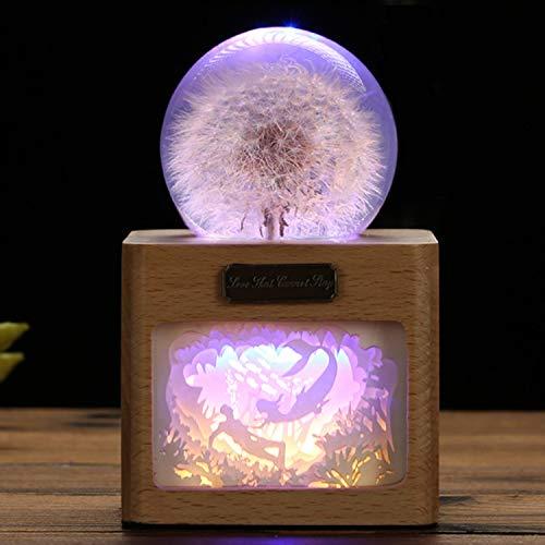 EFGS 3D Crystal Ball LED Nachtlicht, USB Plug-In Papier Carving Lamp Shadow Light Löwenzahn Probe Holztisch Lampe Dekoration, Halloween Weihnachten Valentinstag Kinder Geburtstagsgeschenk,D Crystal Papier