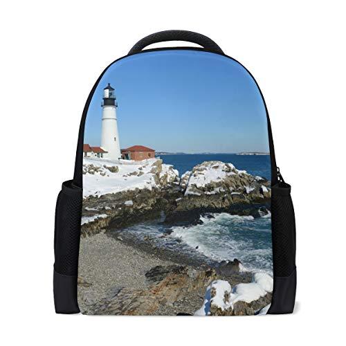 Lässige Daypacks Cute College Laptop Reiserucksack für Frauen \u0026 Männer Küste Leuchttürme Wellen - Küsten-leuchttürme