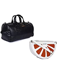 THE MAKER Combo Of Black Synthetic Leather Men Kilburn Duffle Bag With White And Orange Synthetic Leather Sling...