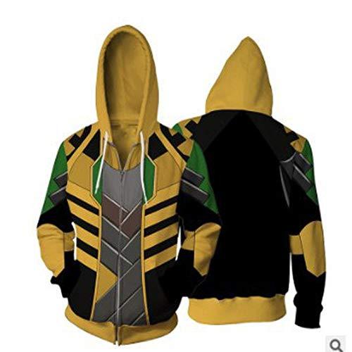 Felpa da Uomo Marvel Felpa Superhero Felpa Avengers Loki Felpa 3D Stampa Digitale Cosplay 1-XL