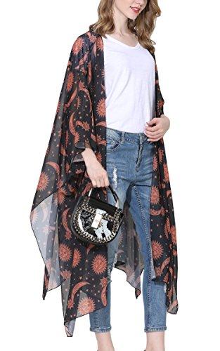 Hibluco Mujer florale Kimono Cardigan Playa Gasa Blusa