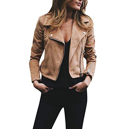 TUDUZ Damen Herbst Winter Retro Rivet Zipper Up Bomber Kurz Jacke Casual Mantel Outwear(Large,Khaki)
