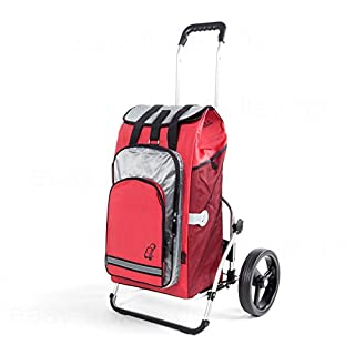 Andersen shopping trolley Royal XXL with 3-spoked wheels and bag Hydro red Volume 60 Litre with thermal compartment