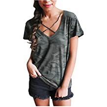 Mujeres blusa camiseta ropa, RETUROM Cool mujeres camuflaje V-cuello manga corta camiseta de manga corta