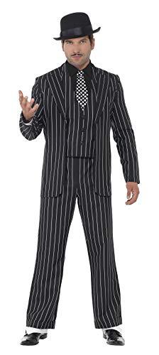 Smiffys Herren Klassischer Gangsterboss Kostüm, Jacke, Krawatte, Weste mit Mock Hemd und Hose, Größe: L, 23042
