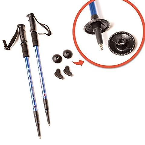 GimaSportwelt 3 en 1 bâtons de marche nordique / bâtons de marche / bâtons de randonnée -, anti-choc réglable léger, 65cm à 135cm