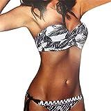 QingJiu Frauen Bikini, Das Verband-Bikini-Set Brasilianische Badebekleidung Beachwear-Badeanzug Drucken(Weiß,X-Large)