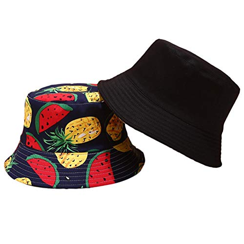 Eimer Hut europäischen und amerikanischen Casual Tropical Style Obst Print doppelseitige tragbare Hut Sport Sonnenschutz Sonnenhut für Männer Frauen Sommer im Freien