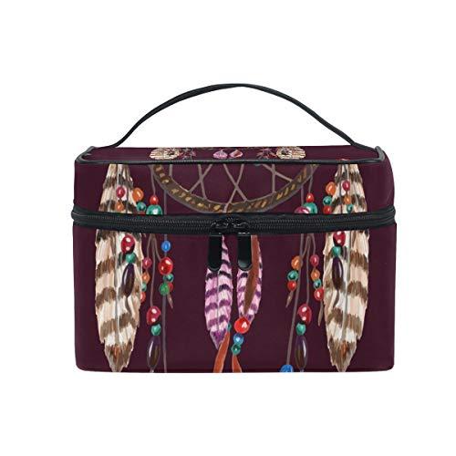 Neceser de maquillaje, diseño tribal de plumas y atrapasueños, portátil, con cremallera