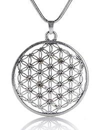 Silvity Damen Blume des Lebens XXL Halskette 80cm , Kristalle 876606-P-20