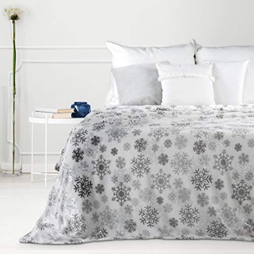 Design91 Plaid Chaud Chaud 150 x 200 cm Motif cœur et Flocons de Neige Blanc/crème/Rose/Gris, Polyester, Snow argenté, 150 x 200 cm