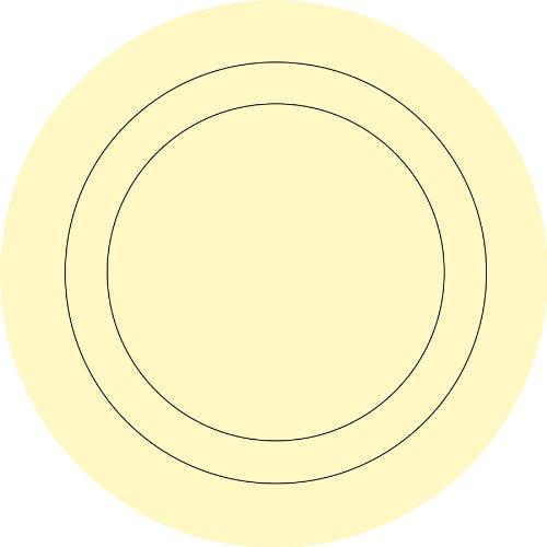 Fine Décor Wallpops - Set di 4 adesivi murali per cameretta dei bambini, a forma di cerchio concentrico, colore: Burro