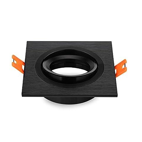Lot de 2 encastré Downlight Spot encastré cadre métallique Light Square Détenteurs place Fixture réglable Cutout 70mm pour LED halogène GU10, 230V, 12V