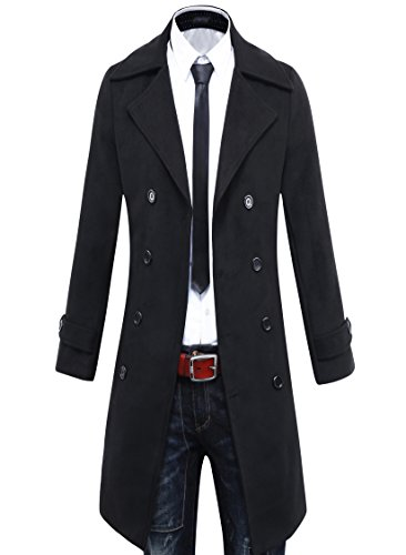 Herren Trench Coat Winter Lange Sakko Double Breasted Mantel (EU Size M/Label XL, Schwarz) Classic Double Breasted Trench Coat