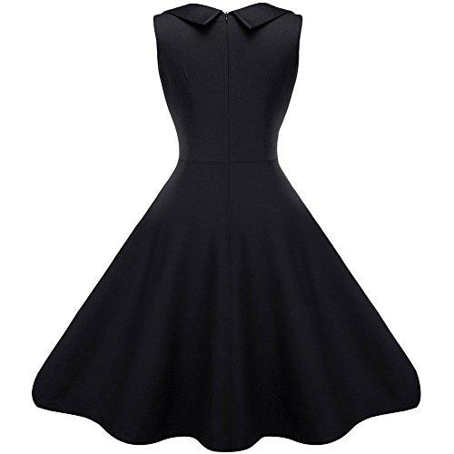 MAX MALL Damen 50s 60s Vintage kleider Polka Dots Party Abendkleid Schwarz