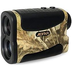 AOFAR Télémètre de Golf Chasse-1000m 6X 25mm Étanche Multifonction RangeFinder Télescope Monoculaire, Scan, Verrou de mât du Drapeau, Brouillard et Vitesse, La Pile Gratuite