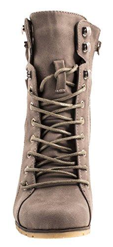 Elara Damen Stiefeletten | Stiefel Trichterabsatz | Lederoptik Grigio