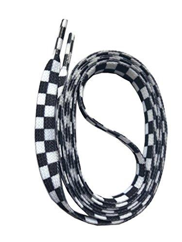 SNORS bedruckte Schnürsenkel KARO weiss 140cm, 10mm, Schuhbänder mit Motiv, reißfest, waschbar, Flachsenkel Made in Germany