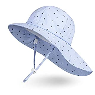 Ami&Li Baby Kids Summer Flap Cover Cap Cotton Anti-UV UPF 50+ Sun Shade Hat - S: Boat Anchor