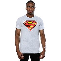 DC Comics hombre Superman Logo Camiseta Large cuero gris