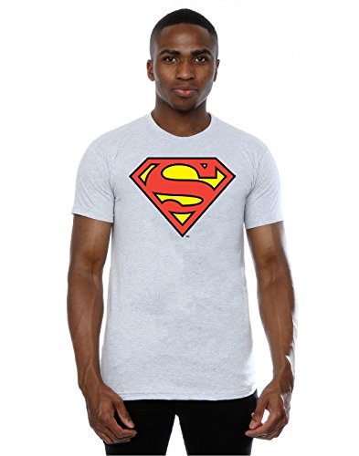 DC Comics Herren Superman Logo T-Shirt, Heather Grey, L,Grau - Erika-Grau