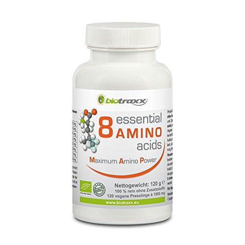 Biotraxx 8 AMINOÁCIDOS - 8 aminoácidos esenciales | 120 tabletas 1000 mg cada una | Hecho en Alemania