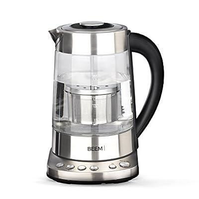 Beem Bouilloire et Théière 1110sr–Elements of, 2000W, 1,7L, Coffee & Tea Bouilloire avec passoire à thé, réglage de la température, fonction maintien au chaud, acier inoxydable, sans BPA