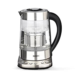 Beem Germany Water Glass Kettle 1110SR, 2000W, 1,7L Adjustable temperatures and Special Tea Filter Compartment, Blue Illumination, Stainless Steel and Free of Any BPA