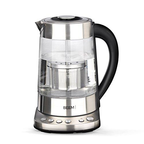 Beem di tè e bollitore 1110sr-Elements Of Coffee & Tea, 2000W, 1,7L, Bollitore con colino da tè, personalizzato della temperatura, funzione di mantenimento in caldo, acciaio inox, senza BPA