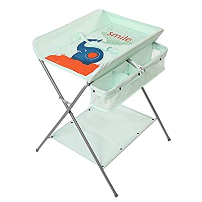 Foldable Changing Table for Nursery | Folding Baby Diaper Table and Dresser Unit | Green Bathing Station (Color : Heightening)