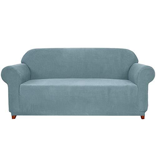 subrtex - Funda de sofá Extensible con reposabrazos elástico para protección de sofá, Azul Claro, 3 plazas