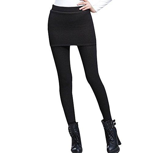 Phorecys Femme Leggings Mini Jupe Pantalon Doublé En Velours Chaud Automne Hiver Noir 3XL - FR 44