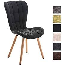 CLP silla de comedor ELDA con tapizado de tela. El asiento está totalmente acolchado y con puntadas de adorno en el tapizado. El soporte de es de mandera. negro
