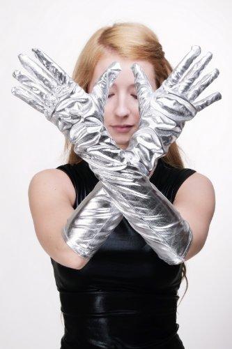 Karneval Fasching Schicke Handschuhe Damenhandschuhe lang Burlesque silber silberfarben roboterliebe futuresk Z080