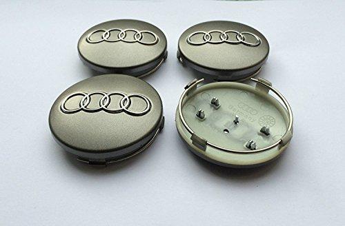 Set von vier Alufelgen Mitte Radkappen grau Bezüge Badge 60 mm 4B0 601 170 passend für Audi A3 A4 A5 A6 A7 A8 S4 S5 S6 S8 RS4 Q3 Q5 Q7 TT A4L A6L S Line Quattro und andere Modelle 4b0601170 (S8 Audi Modell)