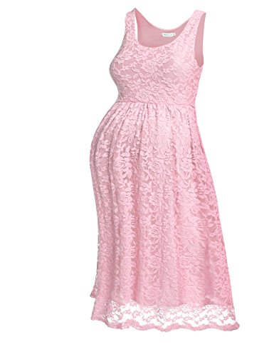 HOTOUCH Women Maternity Sleeveless Empire Waist Knee Lace Dress Pastel Pink S