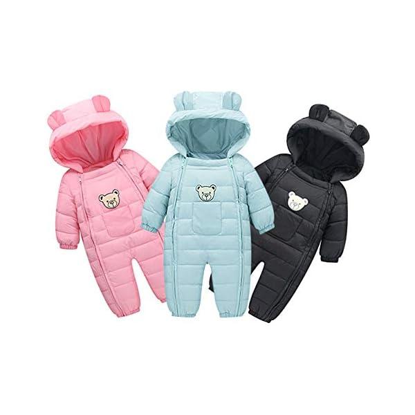 LANSKIRT Mono con Capucha de Ropa Abrigada de Oso para Recién Nacido Bebé Niño Niña Divertidas Mamelucos de Invierno… 2