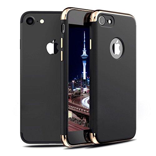 iMounTop Hülle iPhone 7 Hülle Case Tasche Zubehör Gehäuse Rahmen Fall Etui 3-in-1 Plating Überzug PC Anti-stoß Schutzhülle Tasche Schale für iPhone 7 Smartphone (4.7 zoll)(Grey)
