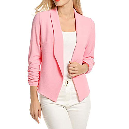 VECDY Damen Jacken,Räumungsverkauf-Frauen 3/4 Ärmel Blazer offen Kurzer Cardigan vorne Anzug Jacke Arbeit Büro Mantel Lässige warme Jacke (L, Rosa)