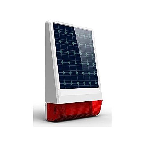 Funk Alarm Sirene Mit Solar Panel | Super Laut Mit 120 db | Außensirene | Funktioniert Mit Allen Funk Alarmsystemen Mit 433 MHZ | Autark Durch Solar Panel + Notfall Akku