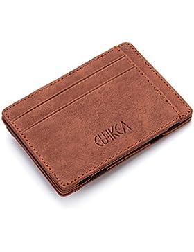 Fundas para tarjetas de visita, Kfnire cartera mágica delgada tarjeta de crédito titular caso de la manga de cuero...